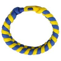 """Браслет из паракорда """"Змейка"""" S (длина изделия: 18см, длина паракорда: 200см), желто-голубой"""