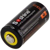 Аккумулятор литиевый LiFePO4 CR123A / 16340 Soshine 3V (600mAh), защищенный