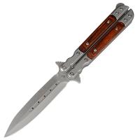 Нож бабочка Benchmade с деревянной рукояткой, лезвие-копьё (длина: 23cm, лезвие: 10cm)