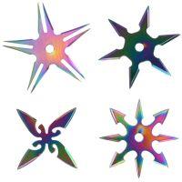 Сюрикены набор. Метательные звездочки в чехле (4 шт.), хамелион