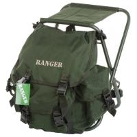 2 в 1 - Табурет туристический складной + Рюкзак Ranger (30л), зеленый