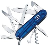Нож складной, мультитул Victorinox Huntsman (91мм, 15 функций), синий прозр. 1.3713.Т2