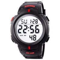 Часы Skmei Мод.1068, черный-красный, в металлическом боксе
