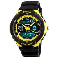 Часы Skmei Мод.0931, черный-желтая окантовка, в металлическом боксе