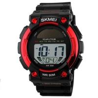 Часы с солнечной панелью Skmei Мод.1126, черный-красный, в металлическом боксе