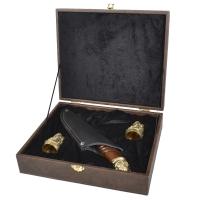 """Набор ручной работы """"Казак"""" (2 рюмки х 30мл+нож (лезвие:134мм)), бронза, в подарочном кейсе"""