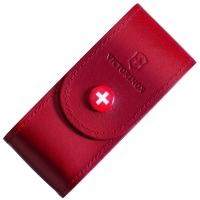 Чехол для ножей Victorinox (84-91мм, 5-8 слоев) на кнопке, кожаный, красный 4.0521.1