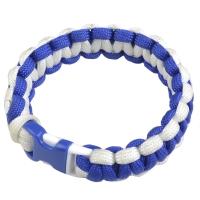 Браслет из паракорда Cobra (длина изделия: 18-19см, длина паракорда: 250-275см), синий/белый