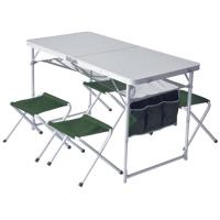 Стол туристический складной + 4 стула Pinguin (120x60x70см/29x30x34см), зеленый 621006
