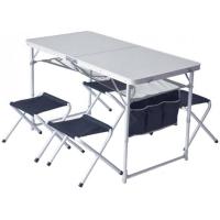 Стол туристический складной + 4 стула Pinguin (120x60x70см/29x30x34см), синий 621006