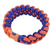 Браслет из паракорда Акулий Зуб (длина изделия: 20-21.5см, длина паракорда: 250-275 см), синий/оранж