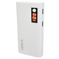 Внешнее зарядное устройство Power Bank DOCA D566II с LED дисплеем (13000mAh), белый