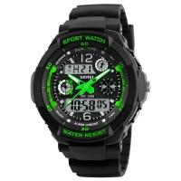 Часы Skmei Мод.1060, черный-зеленый, в металлическом боксе
