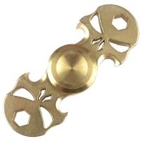 2 в 1 - Спиннер + мультитул с набором бит Skull (75х25мм), золотой