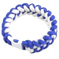 Браслет из паракорда Акулий Зуб (длина изделия: 19см, длина паракорда: 250-275 см), белый/синий