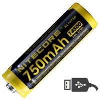 Аккумулятор литиевый Li-Ion IMR 14500 Nitecore NL1475R 3.6V (750mAh, USB), защищенный