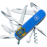 Нож складной, мультитул Victorinox Huntsman Ukraine Герб (91мм, 15 функций), бело-голубой 1.3713.7R6