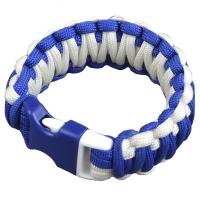 Браслет из паракорда Double Cobra (длина изделия: 20см, длина паракорда: 450см), белый/синий