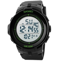 Часы Skmei Мод.DG1127, черные/зеленые, в металлическом боксе