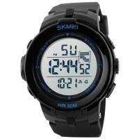 Часы Skmei Мод.DG1127, черные/синие, в металлическом боксе