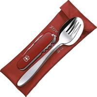 Набор для пикника Victorinox (ложка, вилка + нож Spartan 1.3603.W), красный 4.2431