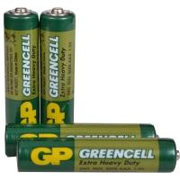 Батарейка солевая AAA Greencell (24G, LR03) GP 1.5V, 4шт. в блистере