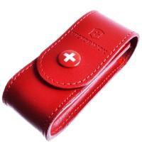 Чехол для ножей Victorinox (84-91мм, 2-4 слоя) на кнопке, кожаный, красный 4.0520.1
