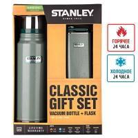 Набор Stanley (термос Legendary Classic (1л) + фляга Classic (0.236л)), зеленый