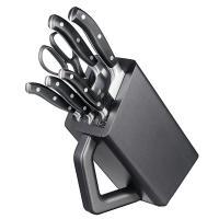 Набор кухонный Victorinox Forged Сhef'S (5 ножей+ножницы) с подставкой, черный 7.7243.6