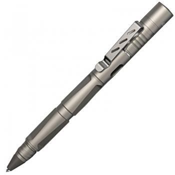 2 в 1 - Ручка тактическая шариковая + фонарь Wuben TP10 (1LED,130 люмен,2 режима,USB,150мм),металлик