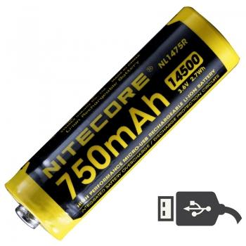 Аккумулятор литиевый Li-Ion 14500 Nitecore NL1475R 3.6V (750mAh, USB), защищенный