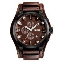 Часы кварцевые Skmei 9165, коричневый циферблат с коричневым ремешком, в металлическом боксе