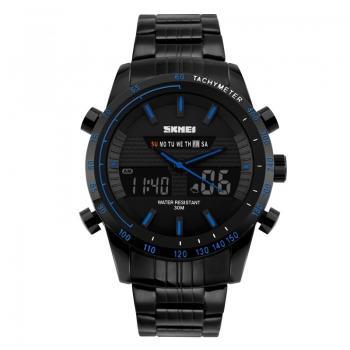 Часы металлические Skmei 1131, черный-синий, в металическом боксе