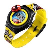 Часы детские Skmei 1376 с машинкой, жёлтые, в металлическом боксе