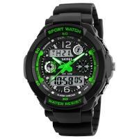 Часы Skmei 1060, черный-зеленый, в металлическом боксе