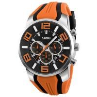Часы кварцевые Skmei 9128, оранжевые, в металлическом боксе