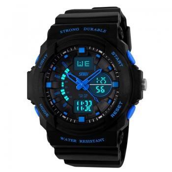 Часы Skmei 1061, черный-синий, в металлическом боксе
