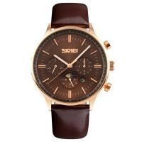 Часы кварцевые Skmei 9117, коричневые с золотым, в металлическом боксе