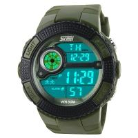 Часы Skmei 1027, армейский зеленый, в металлическом боксе