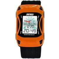 Часы детские Skmei Авто 0961 , оранжевые, в металлическом боксе