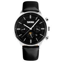 Часы кварцевые Skmei 9117, черные с серебрянным, в металлическом боксе