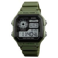 Часы Skmei 1299, зеленые, в металлическом боксе