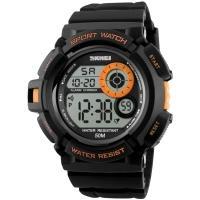 Часы Skmei 1222 (подсветка: 7 цветов), черный-оранжевый, в металлическом боксе