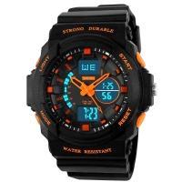 Часы Skmei 1061, черный-оранжевый, в металлическом боксе