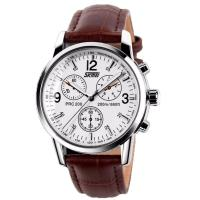 Часы кварцевые Skmei 9070, белый циферблат с коричневым кож. ремешком, в металлическом боксе