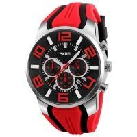 Часы кварцевые Skmei 9128, красные, в металлическом боксе