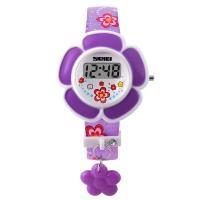 Часы детские Skmei Цветок 1144, фиолетовые, в металлическом боксе