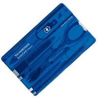 Набор Victorinox Swisscard (82х54х4мм, 10 функций), синий прозр. 0.7122.Т2
